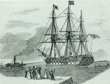 Auswandererschiff                  Illustrierte Zeitung 1847