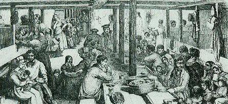 Deck eines Auswandererschiffs                  Illustrierte Zeitung 1847
