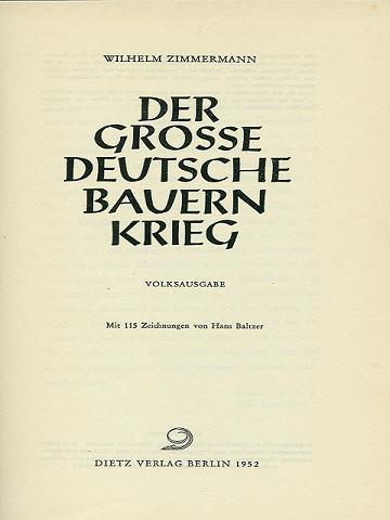 Zimmermann Der Große Deutsche Bauernkrieg Volksausgabe 1952