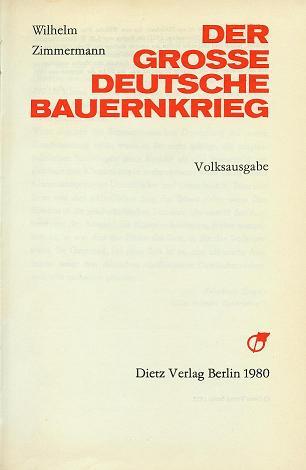 Zimmermann Der Große Deutsche Bauernkrieg Volksausgabe 1980