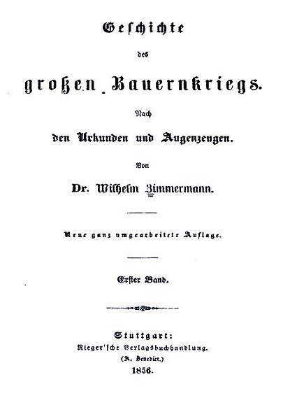 Zimmermann Geschichte des großen Bauernkrieges 1856