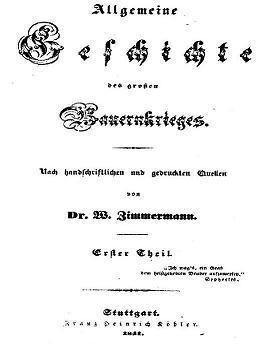 Zimmermann Allgemeine Geschichte des großen Bauernkrieges 1841